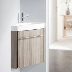 Lave-mains d'angle complet pour WC avec meuble couleur olme gris + mitigeur eau chaude/eau froide