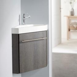 Lave-mains d'angle complet avec meuble moderne couleur wengé + mitigeur eau chaude/eau froide
