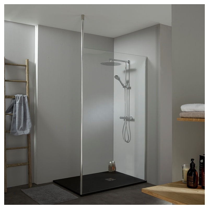 achat de paroi de douche en verre design avec fixation sol plafond. Black Bedroom Furniture Sets. Home Design Ideas