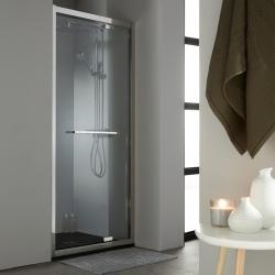 Porte de douche pivotante 90 cm profil en inox chromé