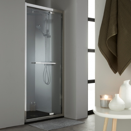 vente de porte de douche en verre pivotante 90 cm en inox. Black Bedroom Furniture Sets. Home Design Ideas