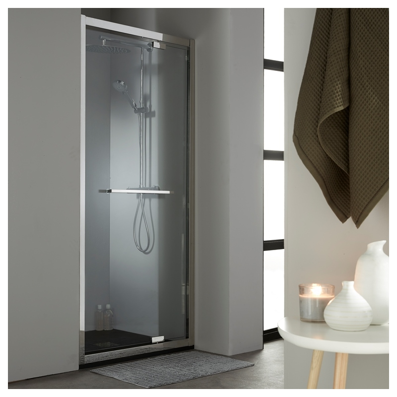 achat porte de douche pivotante avec verre seurit 10 mm profil inox chrome. Black Bedroom Furniture Sets. Home Design Ideas