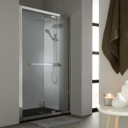 Porte de douche pivotante 120 cm profil en inox chromé