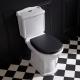 Pack WC rétro à poser en porcelaine blanc avec abattant noir