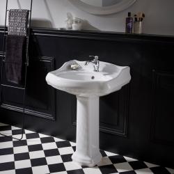 Lavabo colonne rétro 60x87 cm en céramique blanc