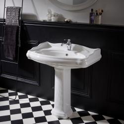 Lavabo colonne rétro 80x87 cm en céramique blanc