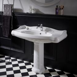 Lavabo colonne rétro 100x87 cm en céramique blanc