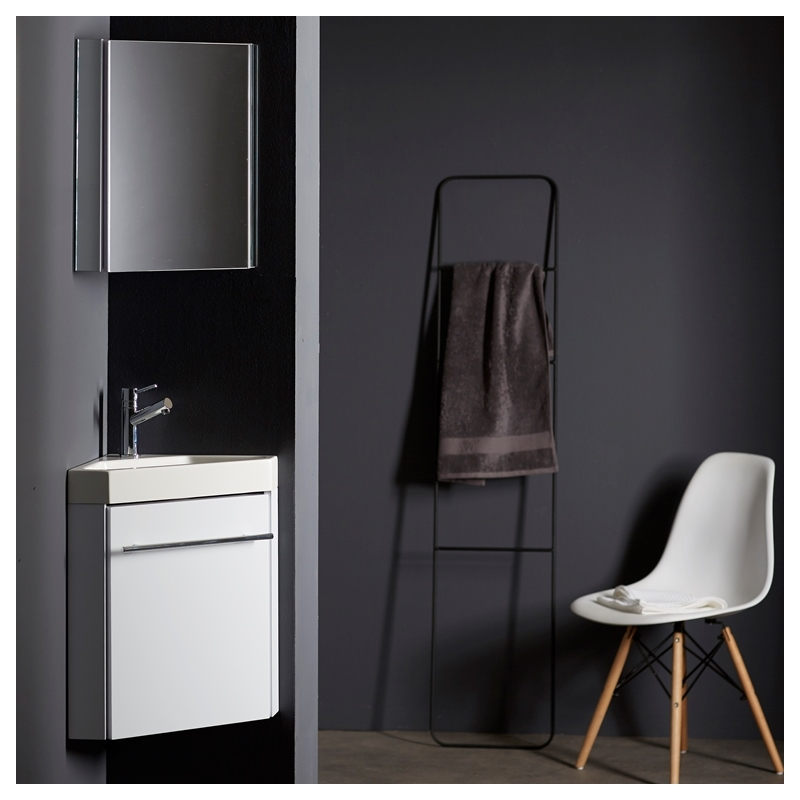 lave main d 39 angle suspendu avec meuble blanc pas cher. Black Bedroom Furniture Sets. Home Design Ideas