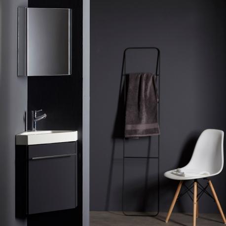 Lave-mains d'angle complet pour WC avec meuble couleur gris anthracite