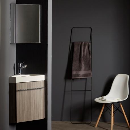 Lave-mains d'angle complet pour WC avec meuble couleur olme gris