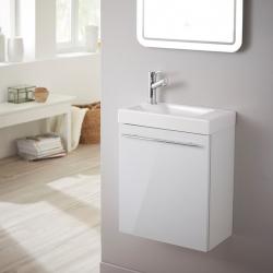 Meuble lave-mains design blanc laqué pour WC