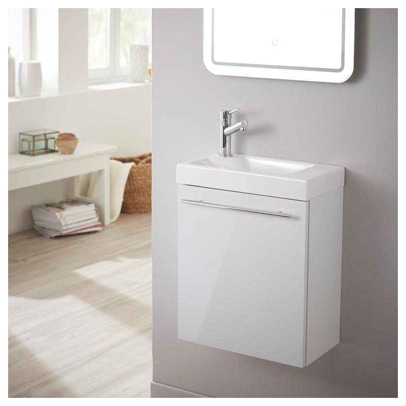 Vente meuble lave main int gr laqu blanc brillant - Meuble lave main angle wc ...