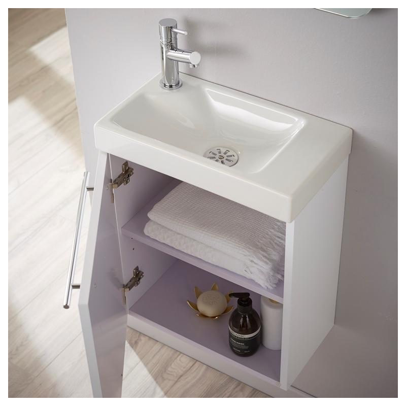 Vente meuble lave main int gr laqu blanc brillant for Lave main et meuble