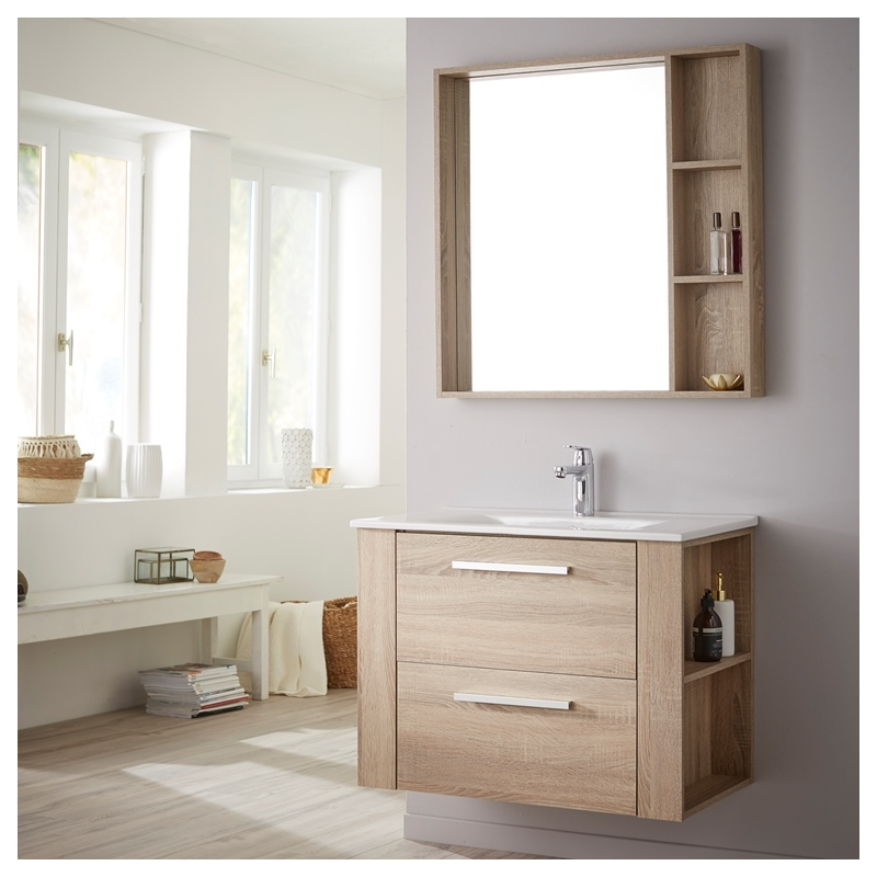 achat de meuble de salle de bain avec plan vasque et miroir finition ch ne. Black Bedroom Furniture Sets. Home Design Ideas