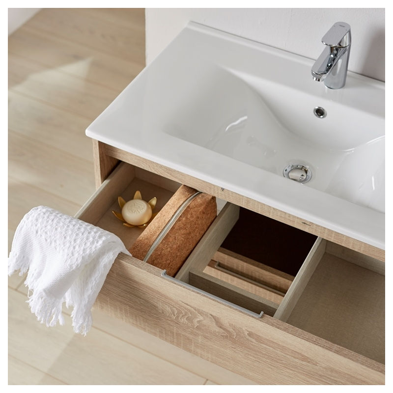 Meuble de salle de bain miroir eclairage 80 cm siris - Meuble salle de bain en solde ...