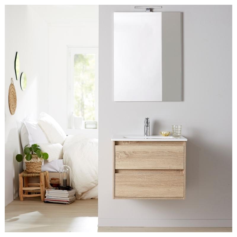 Meuble de salle de bain avec miroir en bois et porcelaine - Meuble salle de bain en solde ...