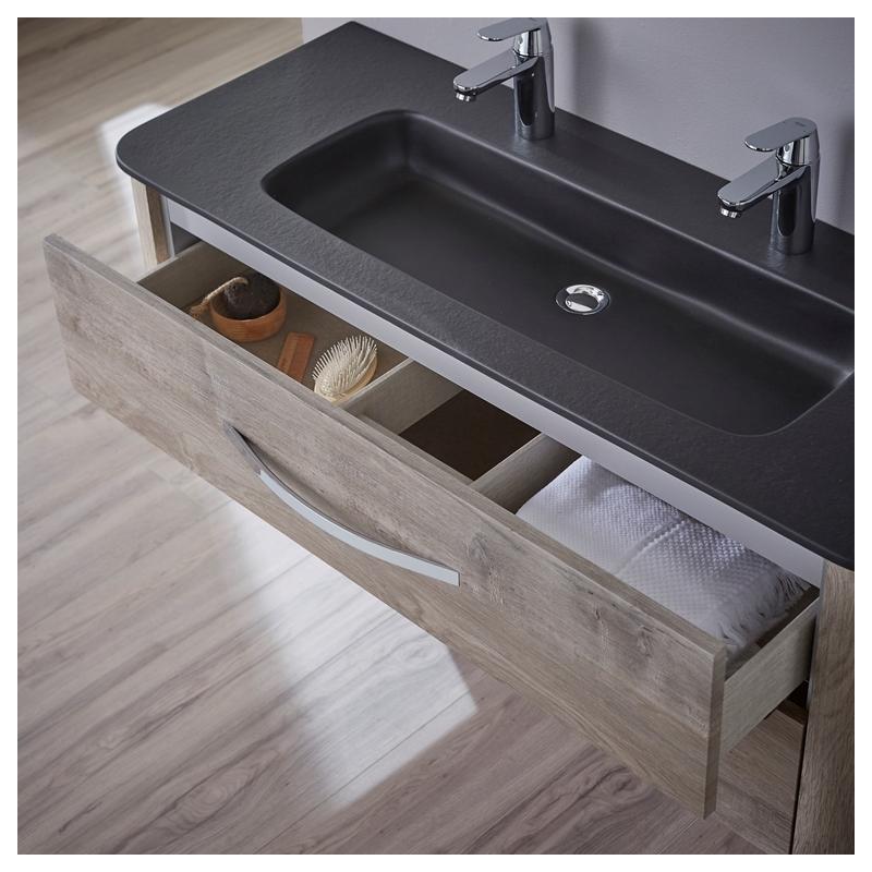 achat meuble de salle de bain tout inclus en 120 cm curve couleur root wood haut de gamme. Black Bedroom Furniture Sets. Home Design Ideas