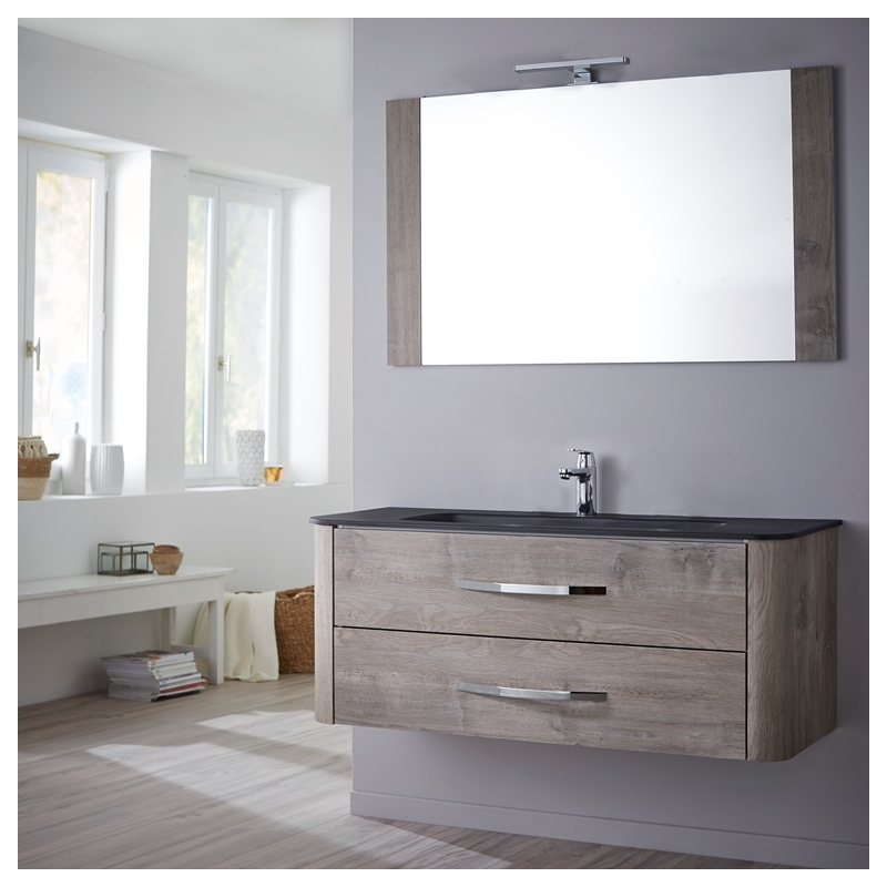 vente meuble de salle de bain plan vasque miroir eclairage 80cm curve ch ne gris. Black Bedroom Furniture Sets. Home Design Ideas