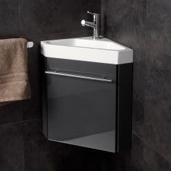 Meuble lave-mains d'angle couleur anthracite + mitigeur eau chaude/ eau froide