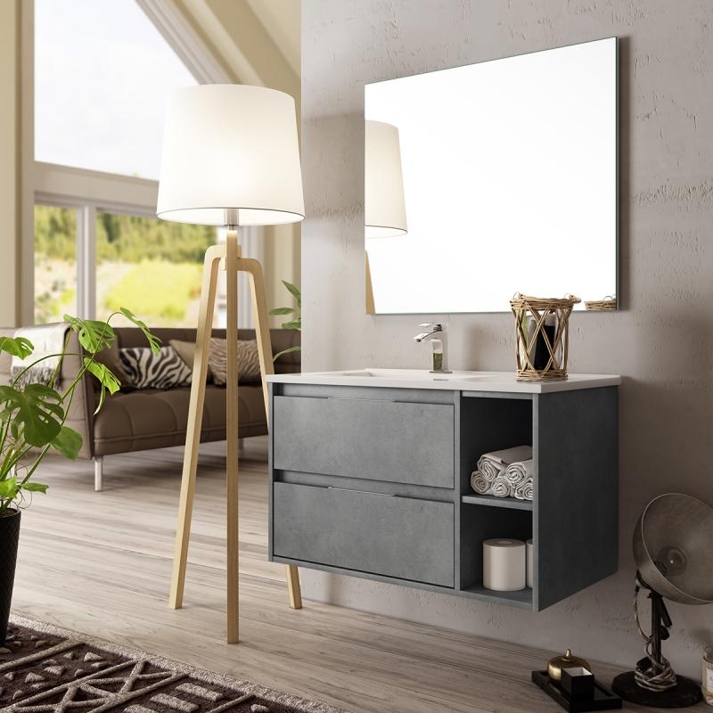 Achat meuble de salle de bain tendance avec miroir et - Meuble salle de bain en solde ...