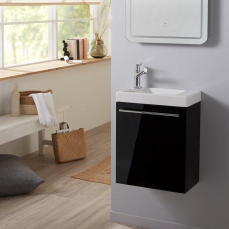 Ensemble meuble lave mains noir + lave mains céramique + robinetterie + vidage