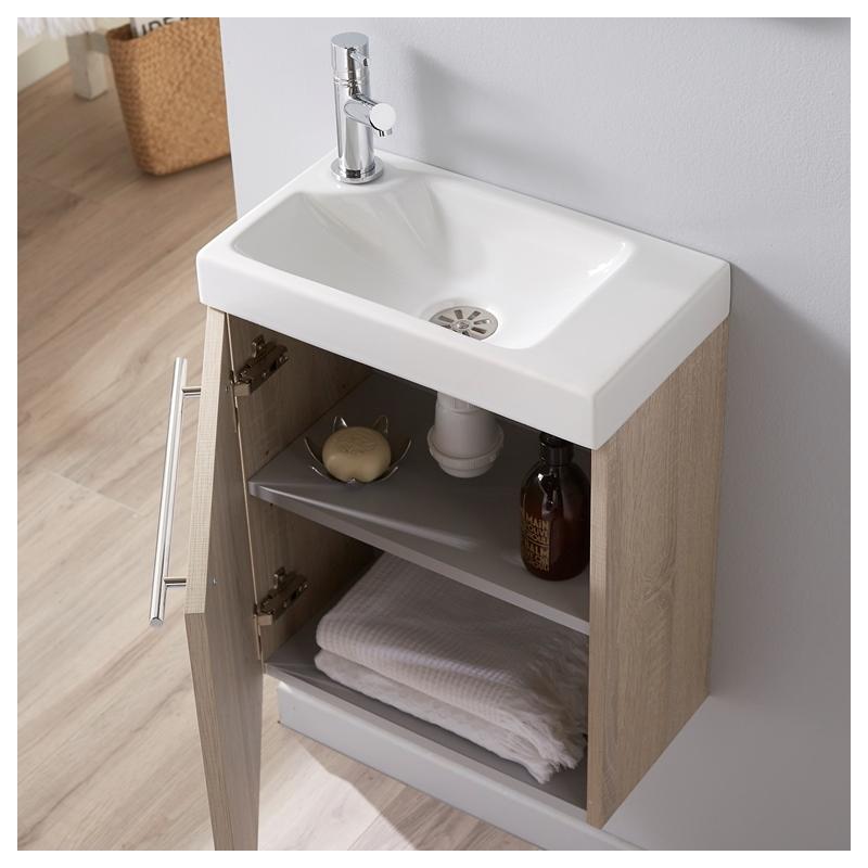 pack meuble lave mains d cor ch ne blanchi caledonia mitigeur eau froide chaude. Black Bedroom Furniture Sets. Home Design Ideas