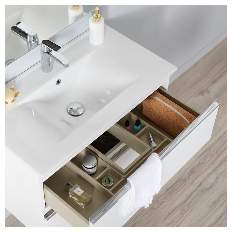 Meuble de salle de bain suspendre blanc 80 cm miroir clairage s rie dynamic 2 tiroirs 80 - Eclairage meuble salle de bain ...