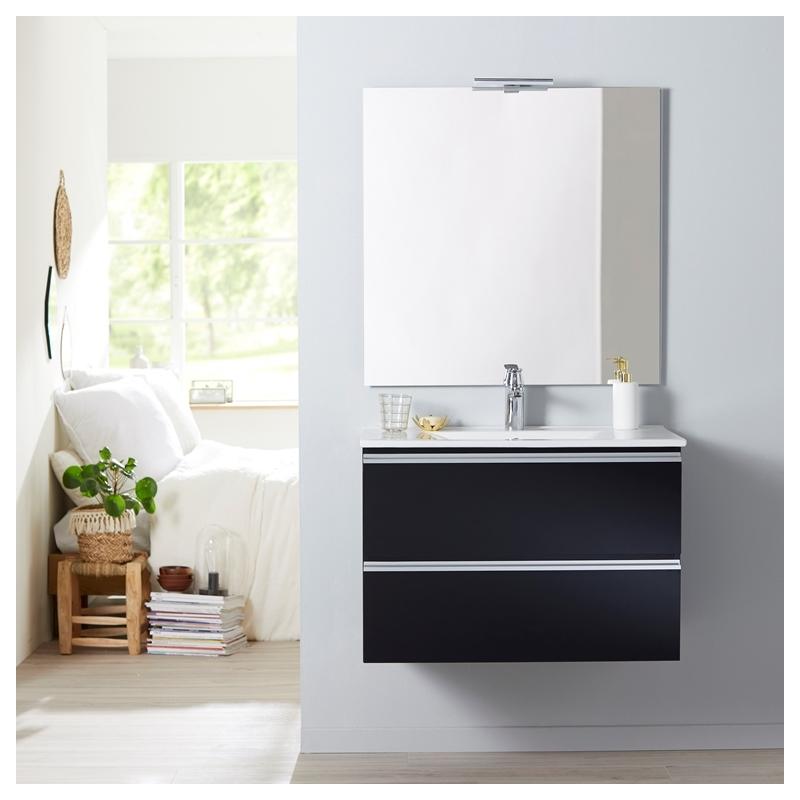 Meuble de salle de bain suspendre noir 80 cm miroir clairage s rie dynamic 2 tiroirs 80 for Miroir 80 cm salle de bain