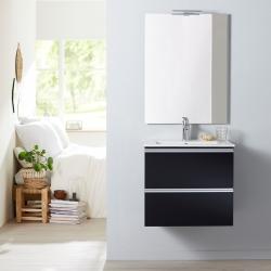 Meuble de salle de bain à suspendre noir 60 cm + miroir + éclairage - Série Dynamic 2 tiroirs