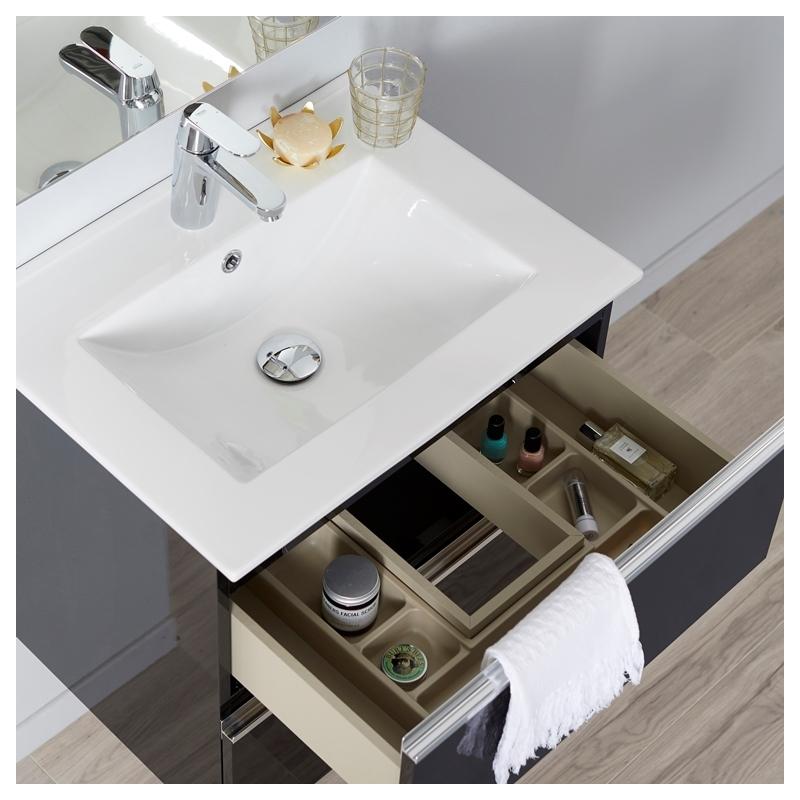 meuble de salle de bain 60 cm tendance noir laqu brillant. Black Bedroom Furniture Sets. Home Design Ideas