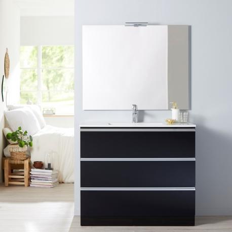 Achat de meuble de salle de bain poser 100 cm noir simple vasque pas cher en stock - Meuble de salle de bain en 100 cm ...