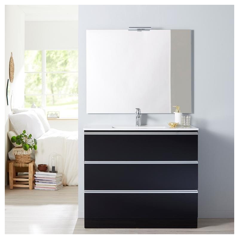Achat de meuble de salle de bain poser 100 cm noir - Meuble salle de bain vasque a poser ...
