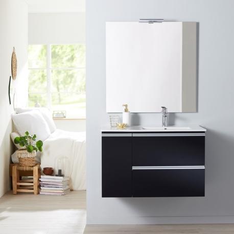 Ensemble meuble salle de bain 85 cm à suspendre noir brillant avec ...