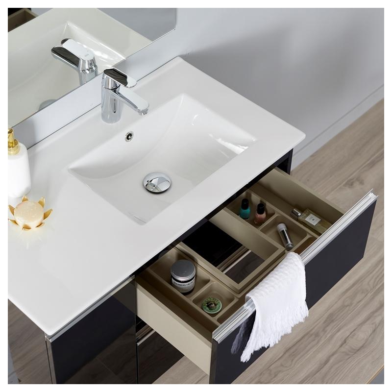 Ensemble meuble salle de bain 85 cm suspendre noir brillant avec miroir et clairage serie - Eclairage meuble salle de bain ...