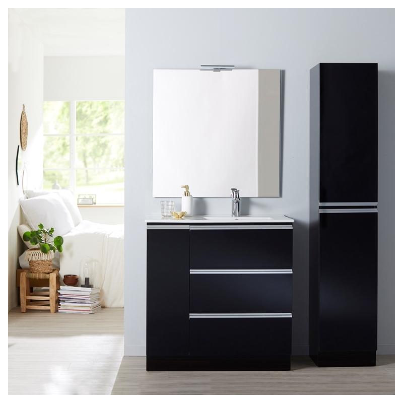 meuble colonne rangement a poser noir planetebain. Black Bedroom Furniture Sets. Home Design Ideas