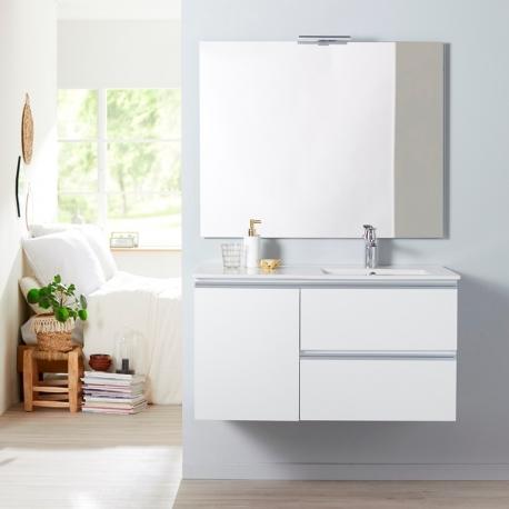 Achat meuble de salle de bain 100 cm tendance avec miroir et éclairage -  planetebain