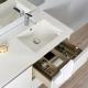 Ensemble meuble salle de bain 100 cm à suspendre blanc + miroir + éclairage - Série Dynamic 2 tiroirs + 1 porte
