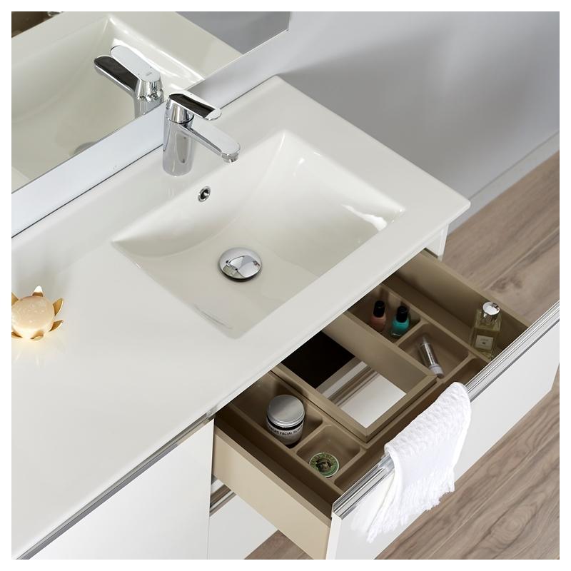 Achat meuble de salle de bain 100 cm tendance avec miroir et clairage planetebain - Meuble de salle de bain en 100 cm ...