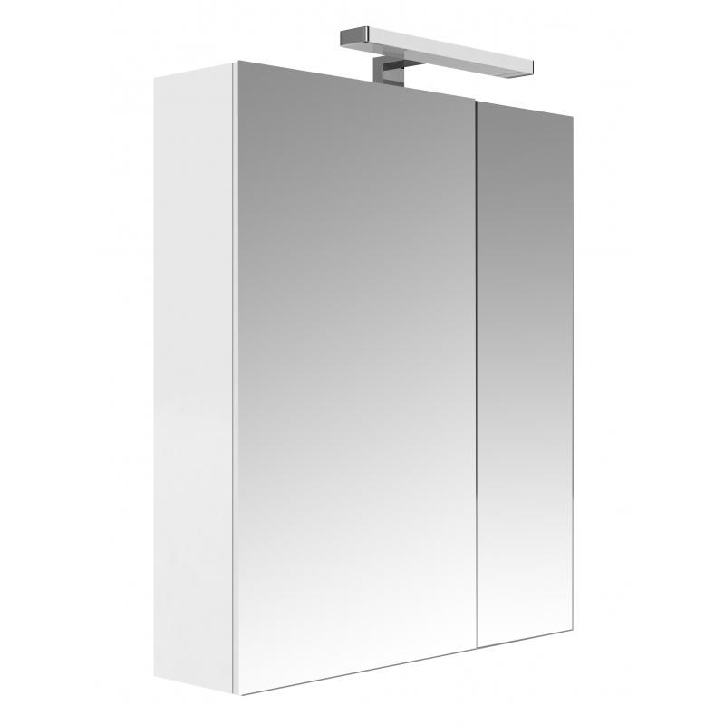Armoire de toilette clairante 60 cm 2 portes blanche brillante juno - Armoire de toilette 60 cm de large ...