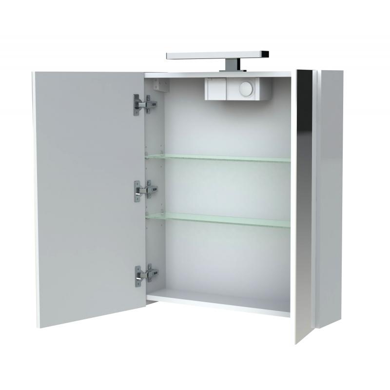 armoire de toilette clairante 60 cm 2 portes blanche brillante juno. Black Bedroom Furniture Sets. Home Design Ideas
