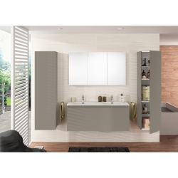 MEUBLE NORDIK 120 GRIS + PLAN VASQUE 120 RONDO SOFT TOUCH