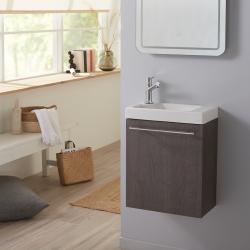 Lave-mains complet avec meuble couleur wengé avec mitigeur eau chaude/eau froide