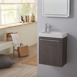 Lave-mains complet avec meuble gain de place couleur sandy grey