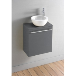 Ensemble Meuble lave mains Gris laqué brillant Contemporain