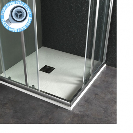Receveur extra plat à poser 90x90 Design reflet ardoisé Blanc