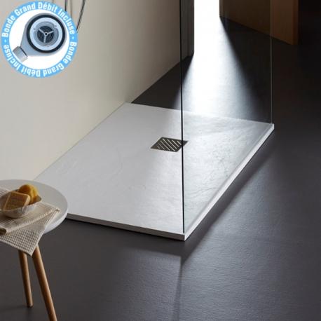 Receveur extra plat à poser 80X140 blanc reflet nervuré grande taille