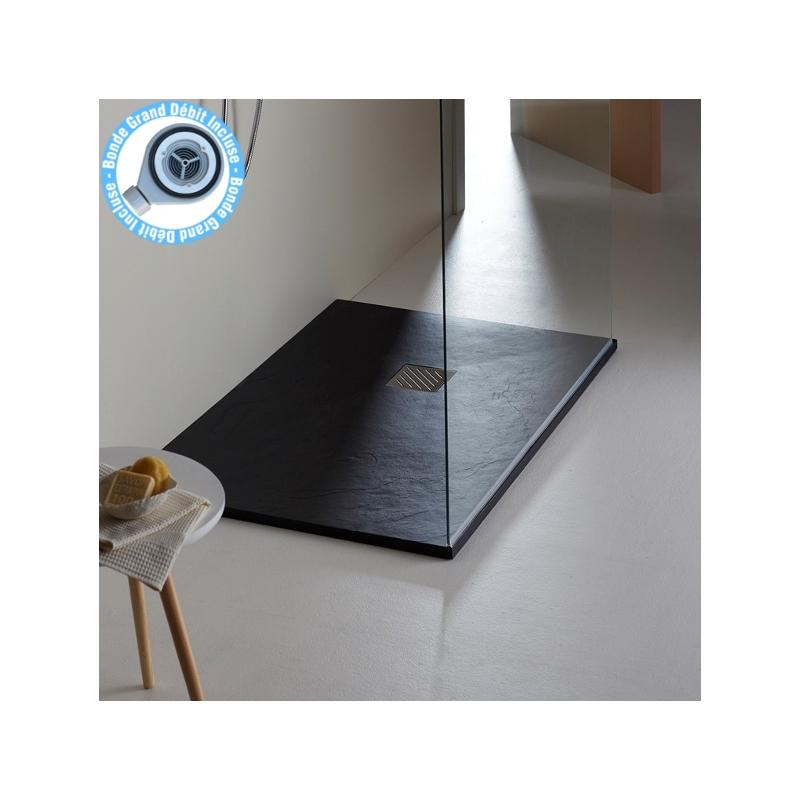 receveur de douche extra plat 120x90 noir poser planetebain. Black Bedroom Furniture Sets. Home Design Ideas