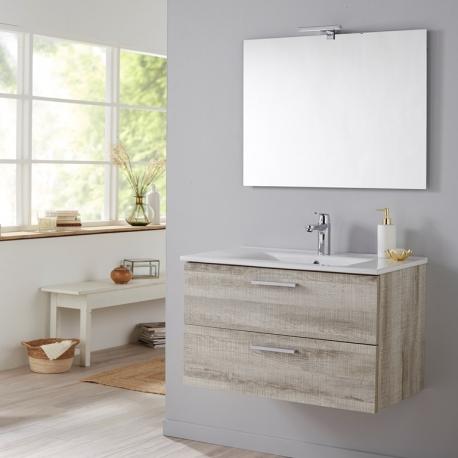 Vente meuble de salle de bain 80 cm monté couleur chêne blanchi grisé