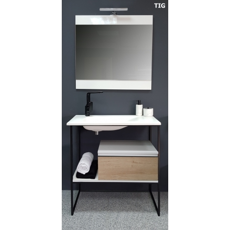 vente de meuble de salle de bain 80 cm tig style industriel. Black Bedroom Furniture Sets. Home Design Ideas