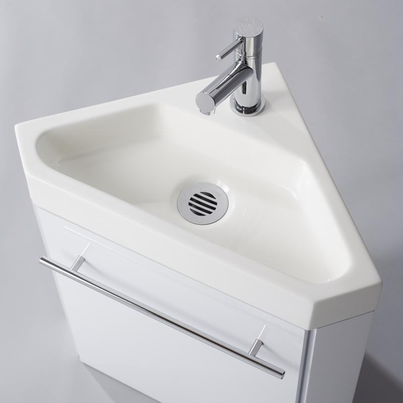 Lave Main D Angle Suspendu Avec Meuble Blanc Pas Cher